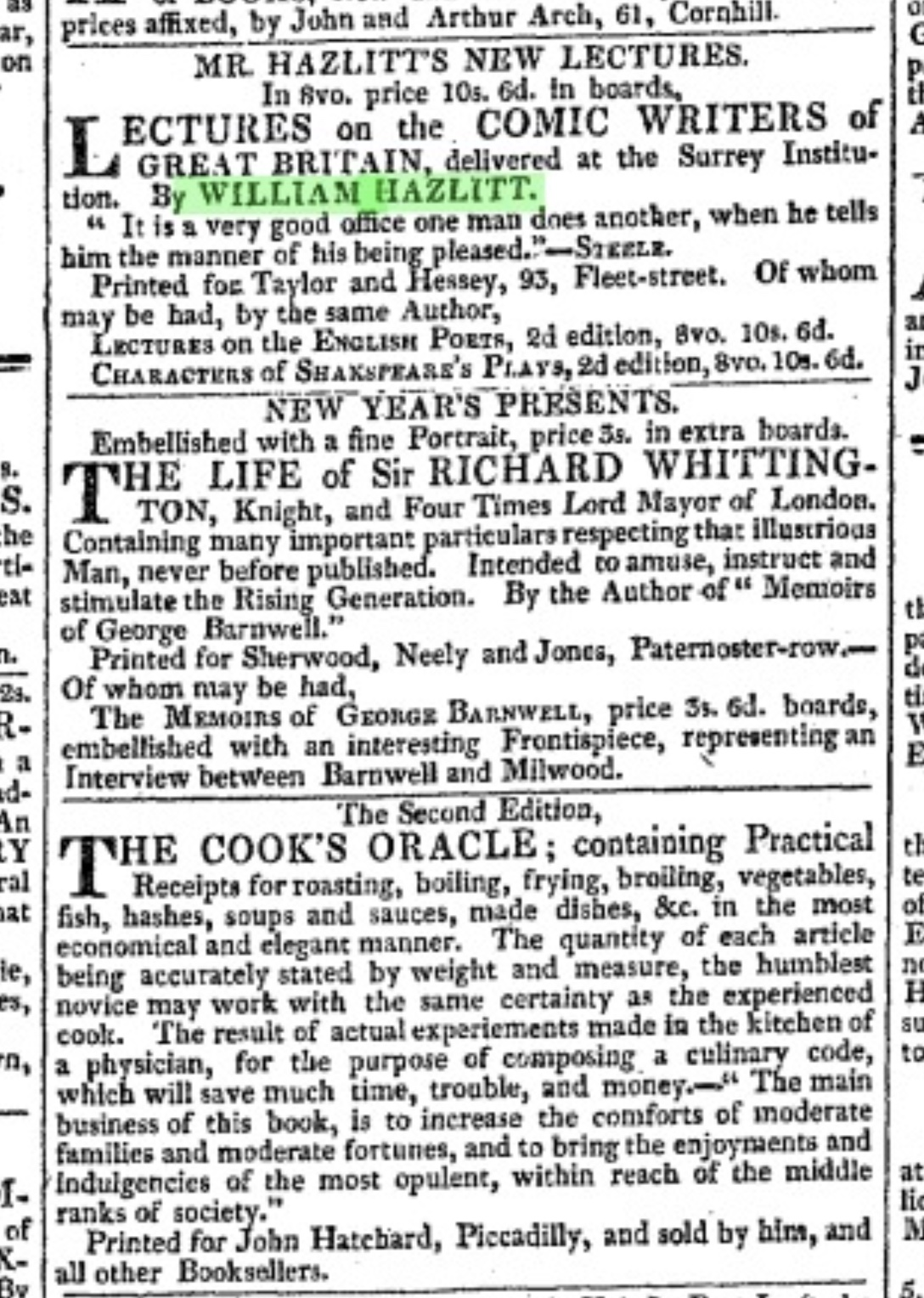 Hazlitt's lectures advertised in The Morning           Chronicle, 11 April 1819