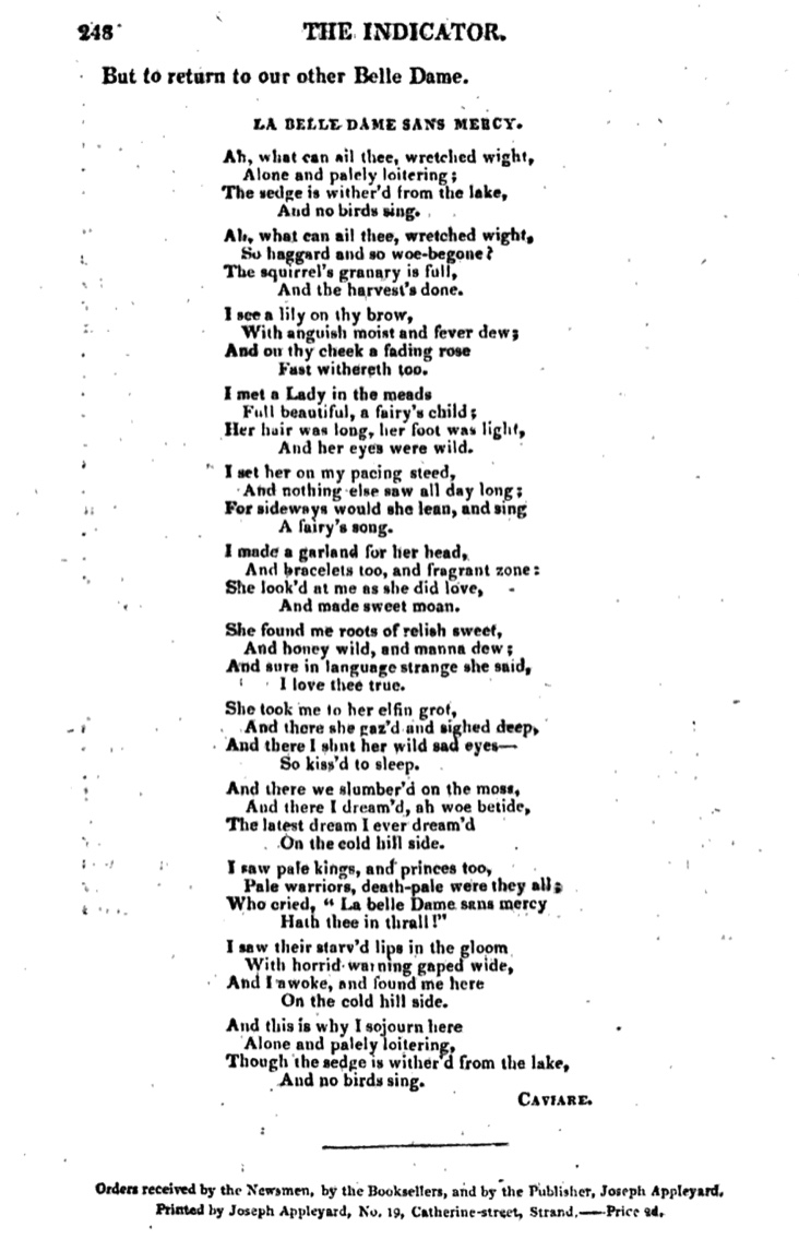 La Belle Dame in The Indicator, 10 May 1820. (Click to enlarge.)