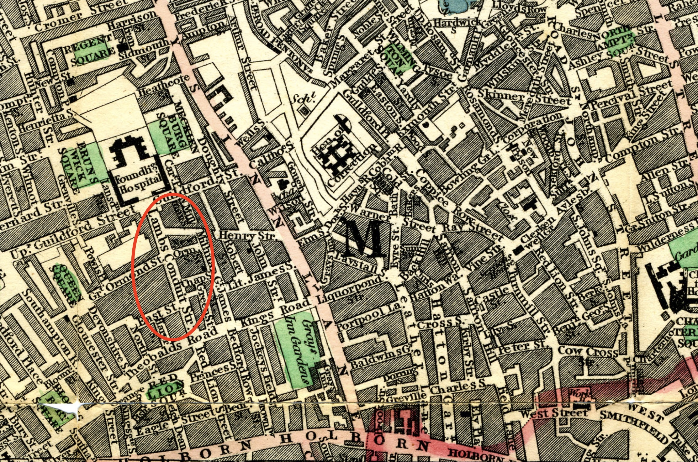 Lambs Conduit Street, Cary's 1818 Map. Click to enlarge.