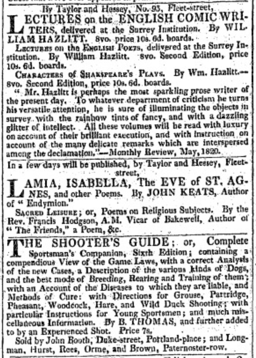 Notice of the forthcoming 1820 collection in The           Morning Chronicle, 27 July 1820. Note William Hazlitt (one of Keats's critical         mentors) is also advertised.