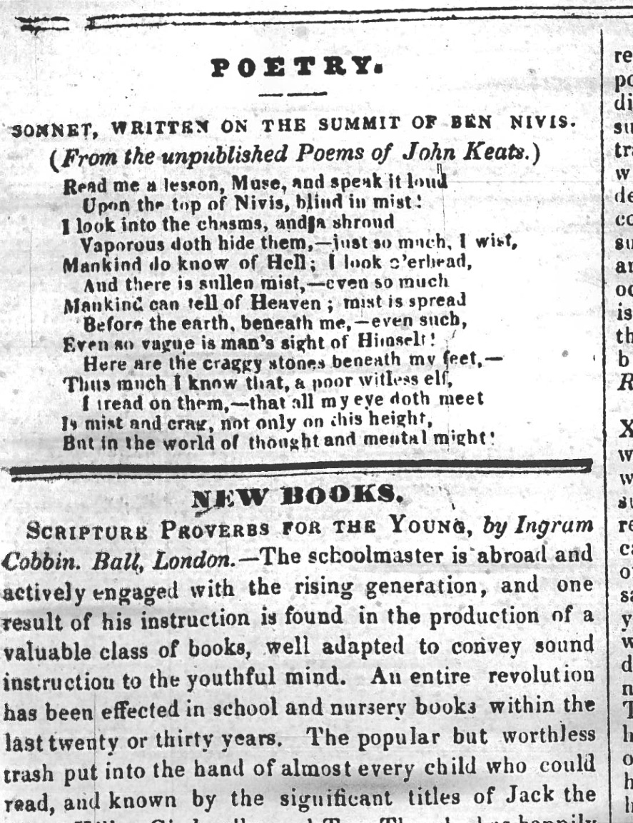First publication of Read me a Lesson, Muse…, in           The Plymouth and Devonport Weekly Journal, 6 September         1838. My thanks to the Plymouth Central Library for generously finding and providing this         image.