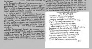 First publication of To Solitude,         The Examiner, 5 May 1816, p.282. Click to         enlarge.