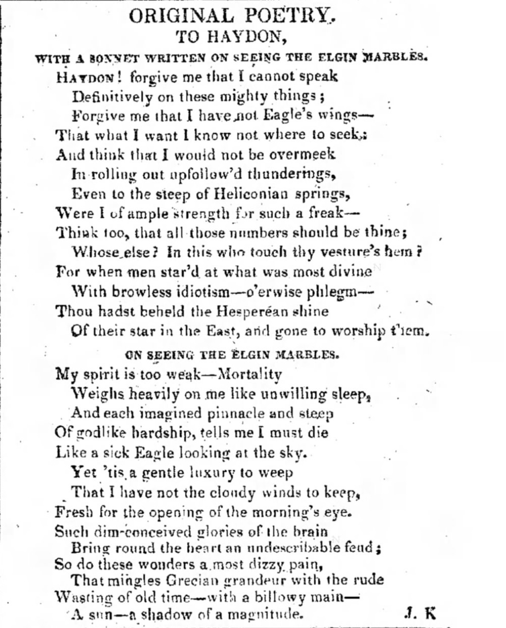 Publication of Keats's Elgin Marble poems in The Examiner, 9 March 1817, p.155.
