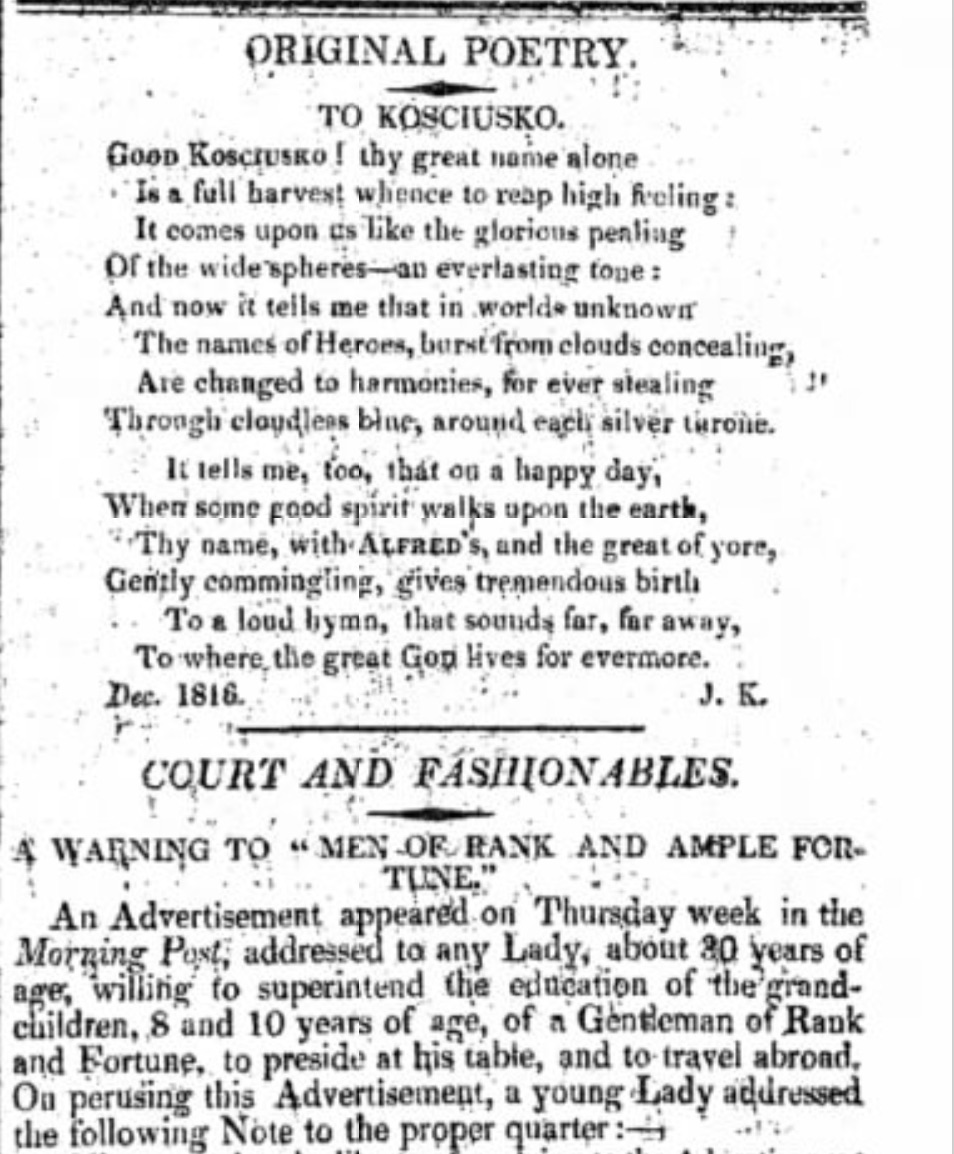"First publication of ""To Kosciusko,"" in The Examiner, 16 February 1817, p.11."