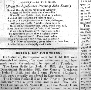 First publication of To the Nile, 19 July 1838, Plymouth and Devonport Weekly Journal (my thanks to the Plymouth Central Library for this image)