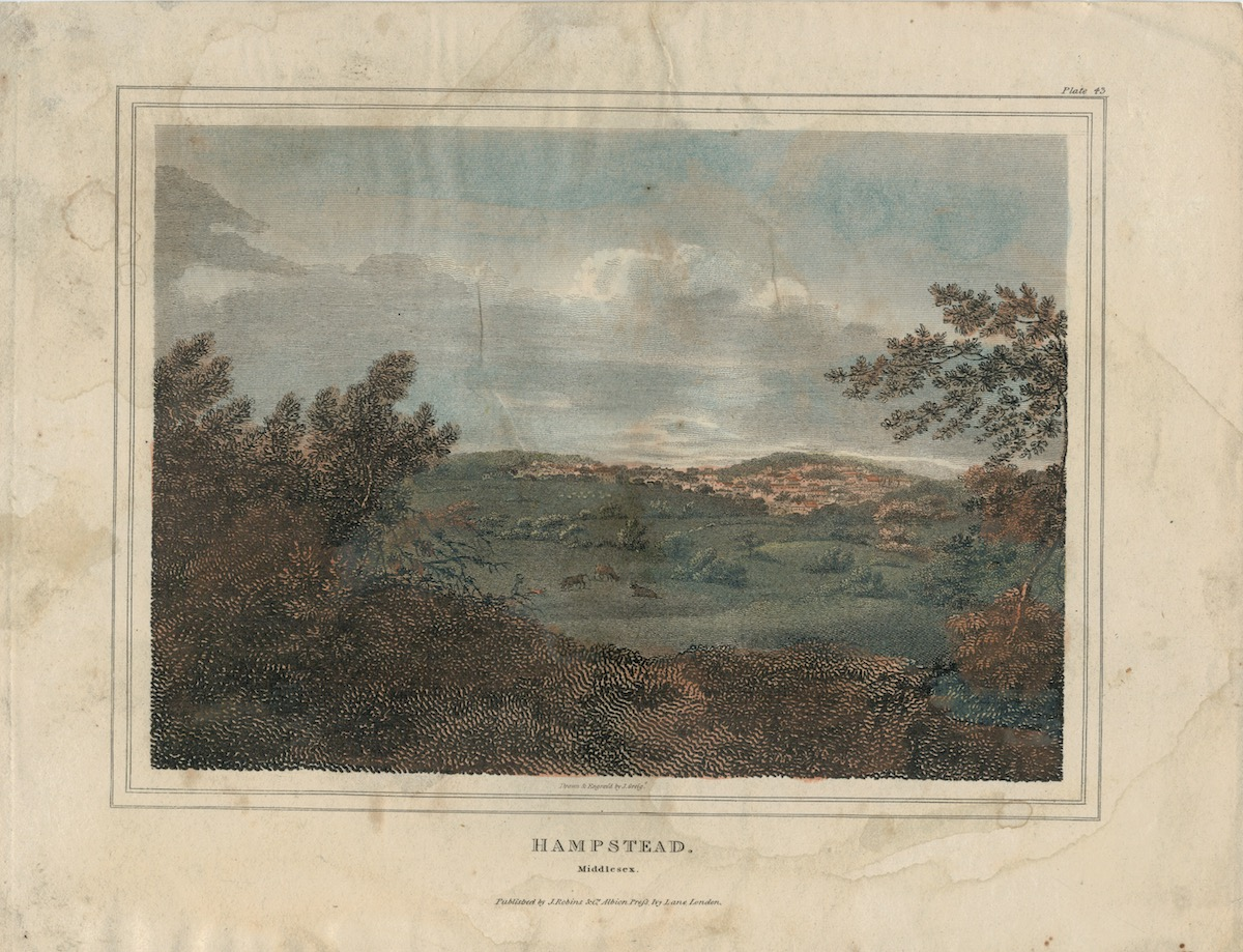 Hampstead, Middlesex, 1818, by J. Greig. Click to enlarge.