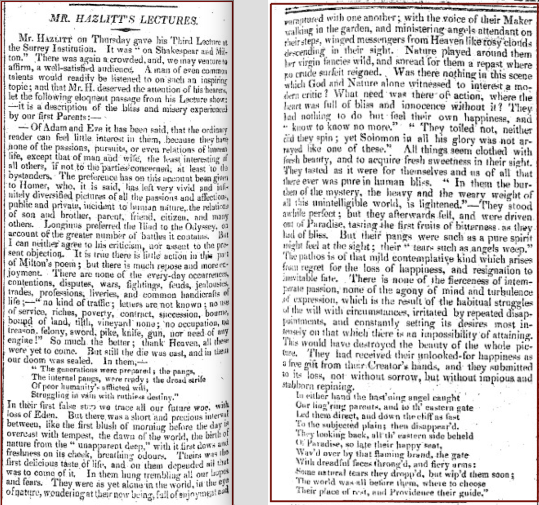 Mr. Hazlitt's Lectures, The Examiner, 1 Feb 1818, pp.76-77