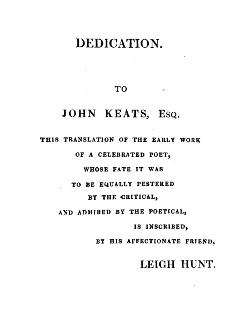 Dedication to Keats in Hunt's 1820 Amyntas, A Tale of the Woods. Click to enlarge.