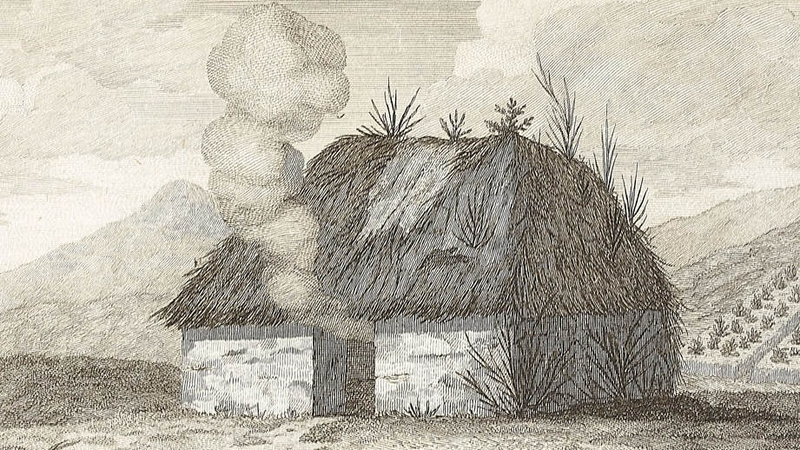Irish cabin, c.1790, by Arthur Young (Moore Institute, NUI Galway). *Note: no         windows and no chimney, as Keats also describes seeing in Scotland.