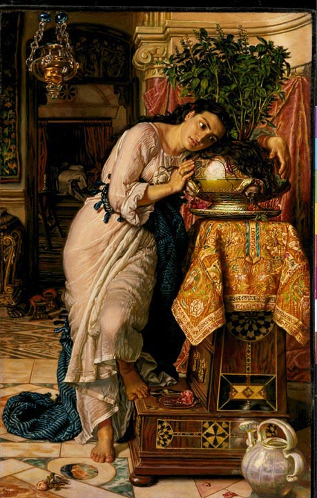 Isabella and the Pot of Basil by William Holman Hunt, 1868 (formerly part of the Delaware Art Museum; auctioned to a private collector, 2014). Click to enlarge.