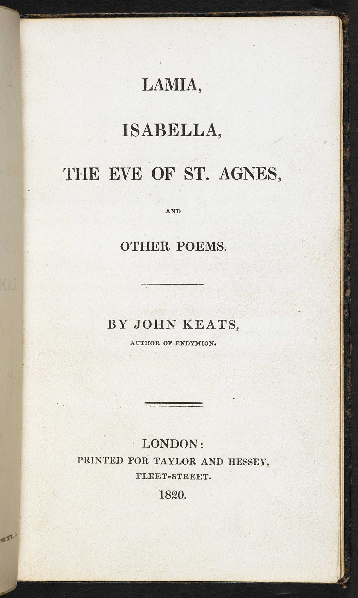 Title page for Keats's 1820 collection. Click to enlarge.