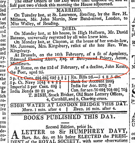 Notice of Keats's death, of a decline, in The Morning Chronicle, 22 March 1821
