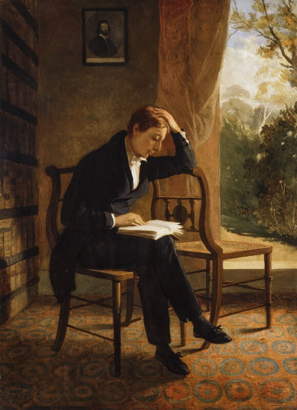 Keats Reading, by Joseph Severn, 1821-1823 (National Portrait Gallery, NPG 58).       Click to enlarge.