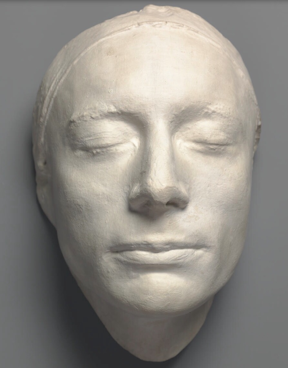 Plaster cast of life-mask of Keats, 1816, by Benjamin Robert Haydon, National Portrait Gallery (NPG 686). Click to enlarge.
