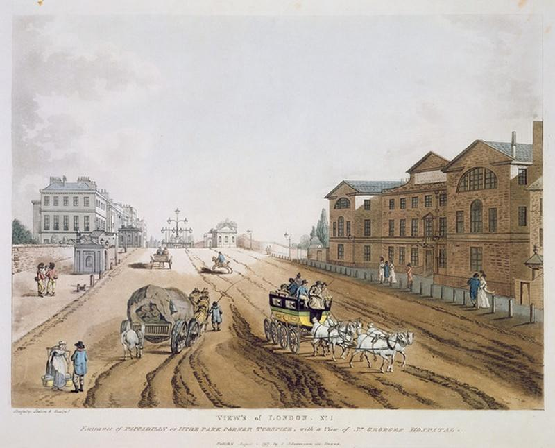 London, 1797. Entrance of Piccadilly or Hyde Park Corner Turnpike with a view of         St. George's Hospital. Click to enlarge.