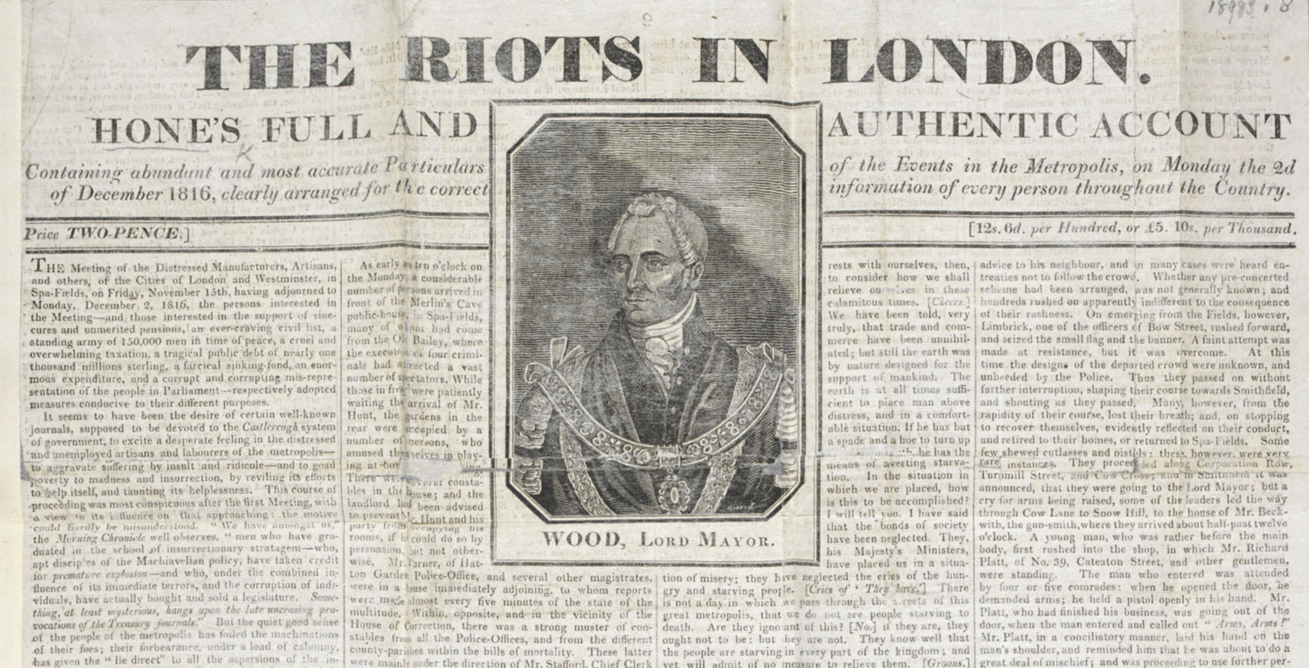 The Riots in London, news-sheet, December 1816 (British Library 001724592). Click to enlarge.
