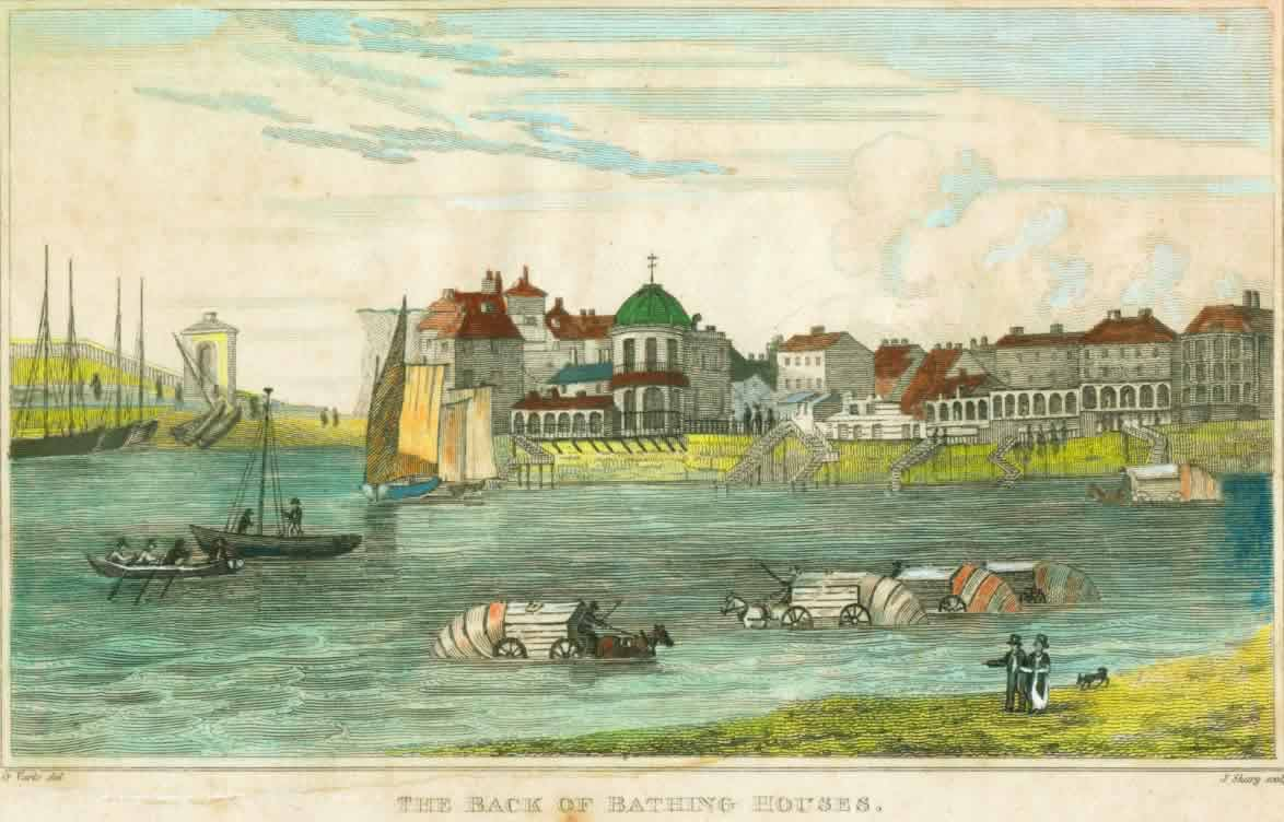 Bathing Houses: the popular seaside destination of Margate; bathing for medicinal         purposes was something of a fad