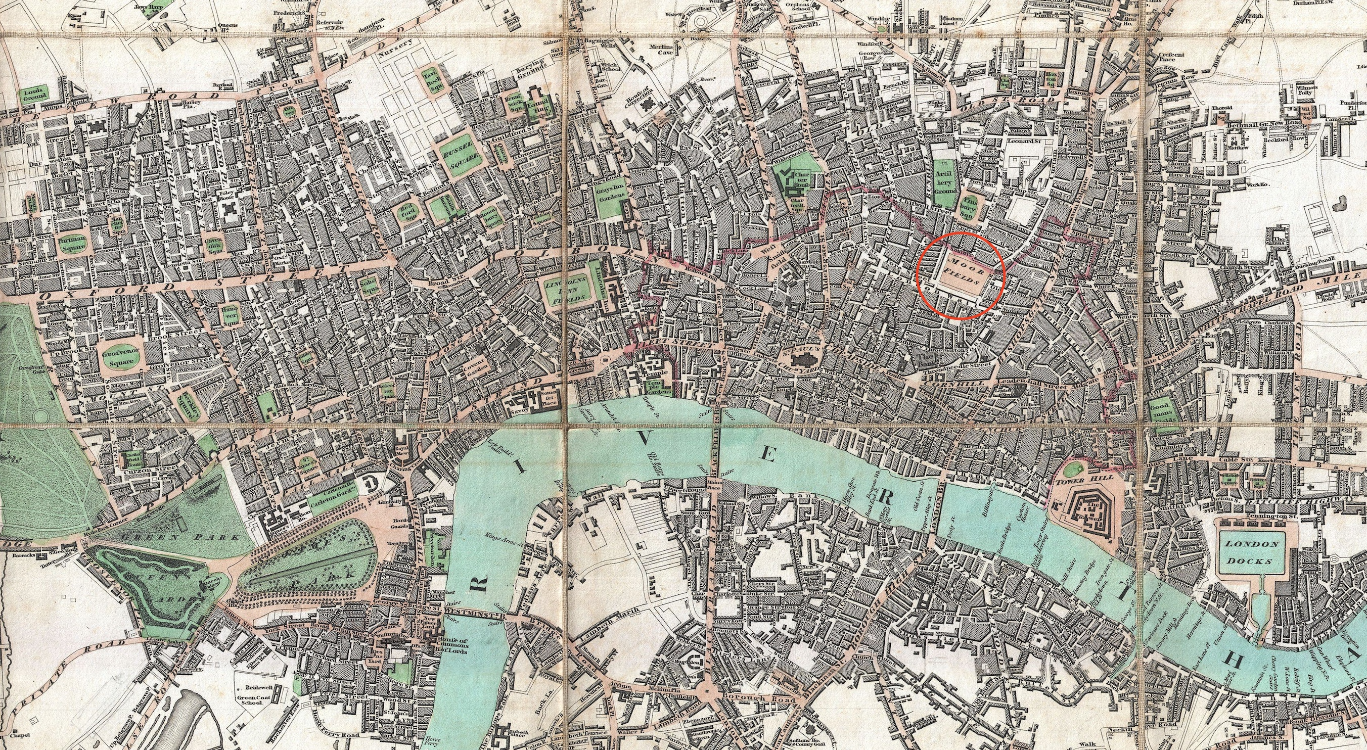 Moorfields area of London, Edward Mogg's1806 map. Click to enlarge.