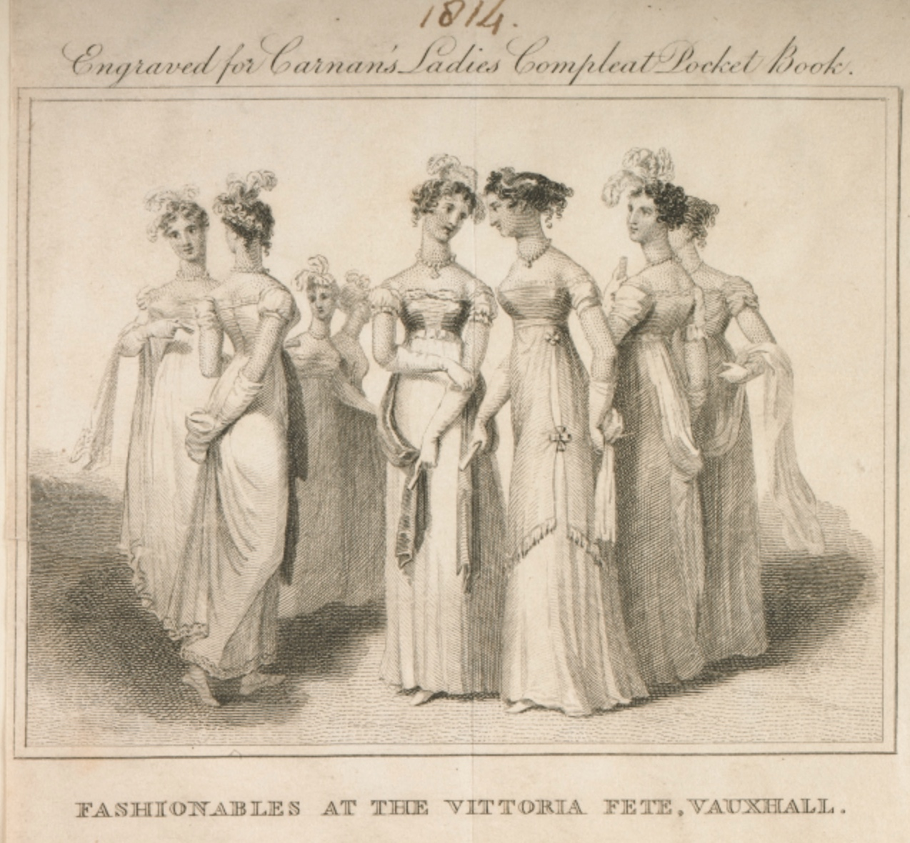 Fashionable Women at Vauxhall to celebrate a military victory, 1813/1814 (Museum         of London 2002.139/2294). Click to enlarge.