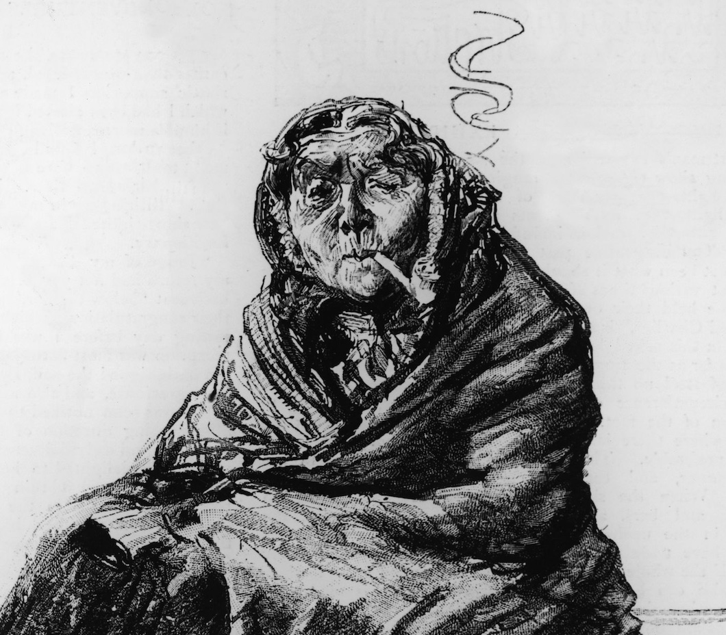 Old Irish woman, smoking a pipe, c.1880