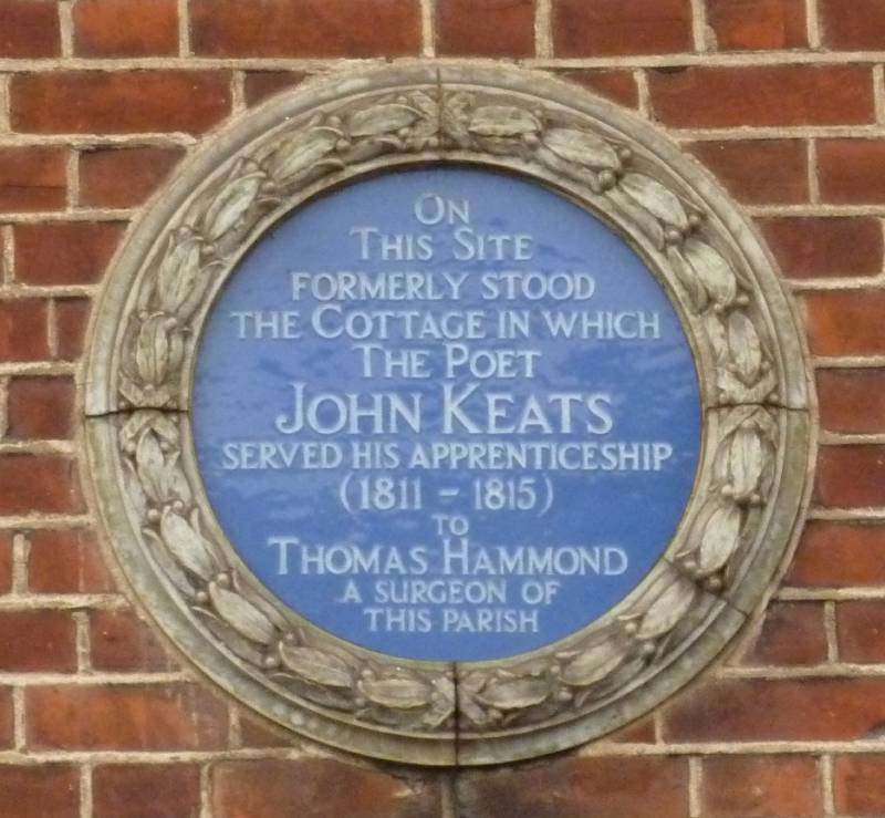 Plaque marking the site of Thomas Hammond's house, Keats Parade, Church Street, Edmonton. Image courtesy of Keats House, City of London Corporation (K/PH/13/022). Click to enlarge.