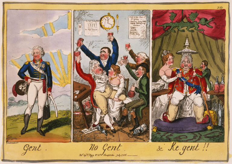 Gent, No Gent, & Re Gent, by George Cruikshand, 1816. Click to englarge.