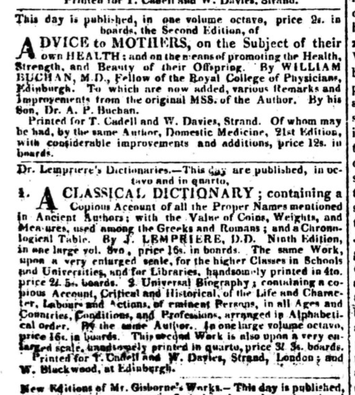 A few random publication announcements in The Morning Post for 21         November 1817 (click to enlarge)