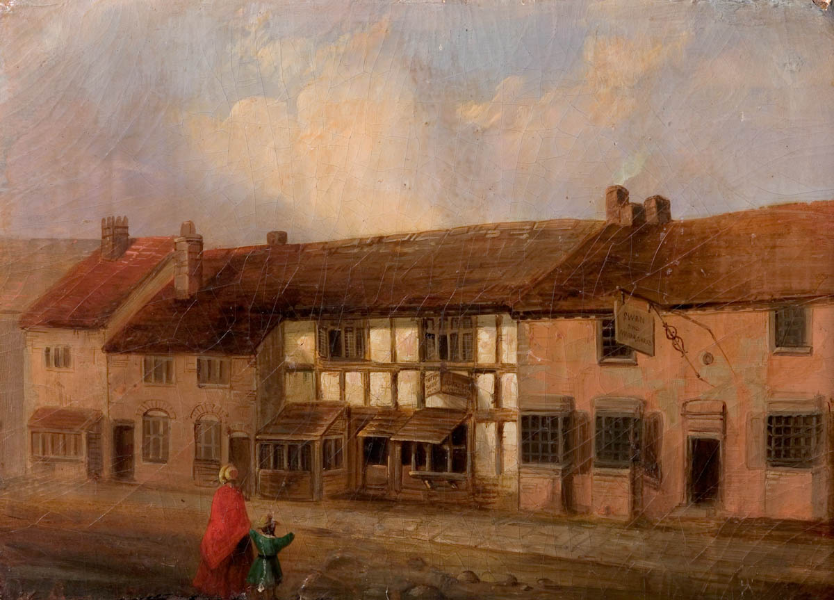 Shakespeare's birthplace (artist unknown) c.1801-1847. The painting is at the         Shakespeare Birthplace Trust museum (STRST : SBT 2004-39/1). Click to enlarge.