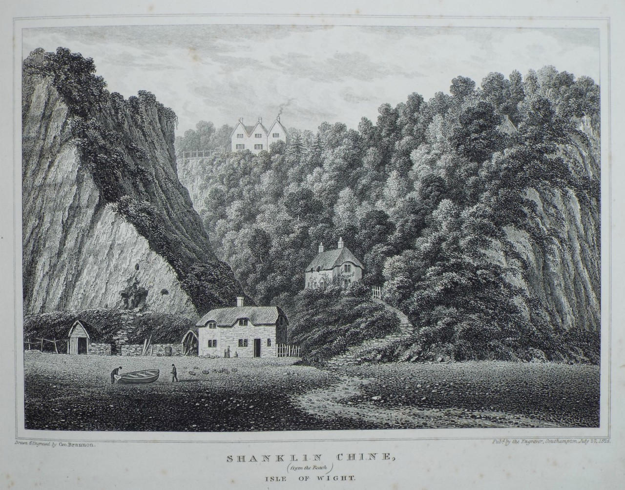 Shanklin Chine, 1824, by George Brannon. Click to enlarge.