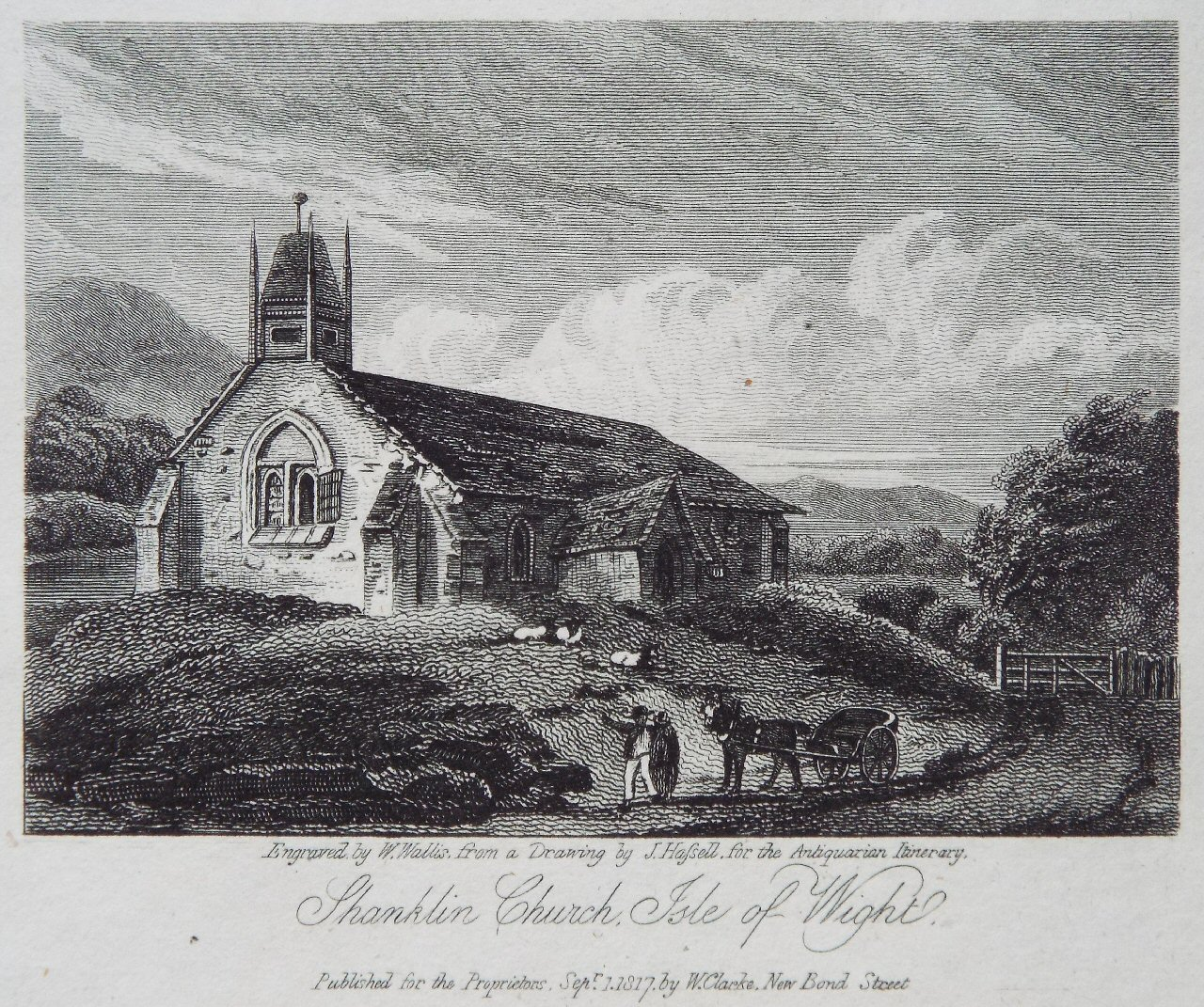 Shanklin Church, 1817. Brown has time to sketch the church sometime just before         31 July. Keats tries his hand, too, but he is impressed by Brown's skill. Click to         enlarge.