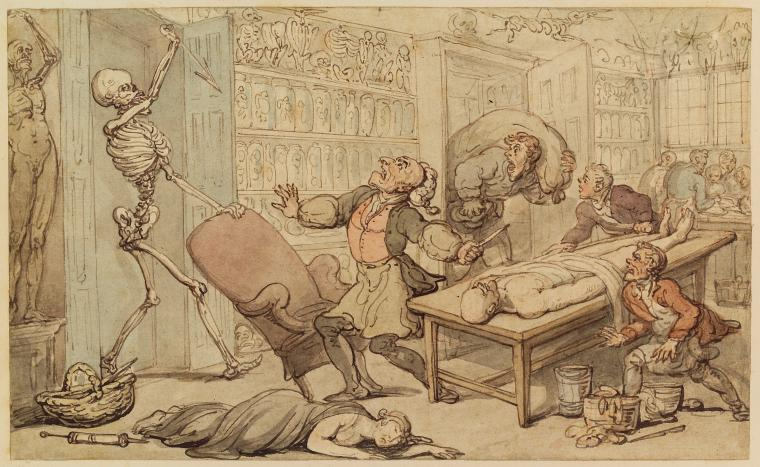 Thomas Rowlandson's 1815 depiction of the dissection room (Spencer Collection, New York Public Library). Click to enlarge.
