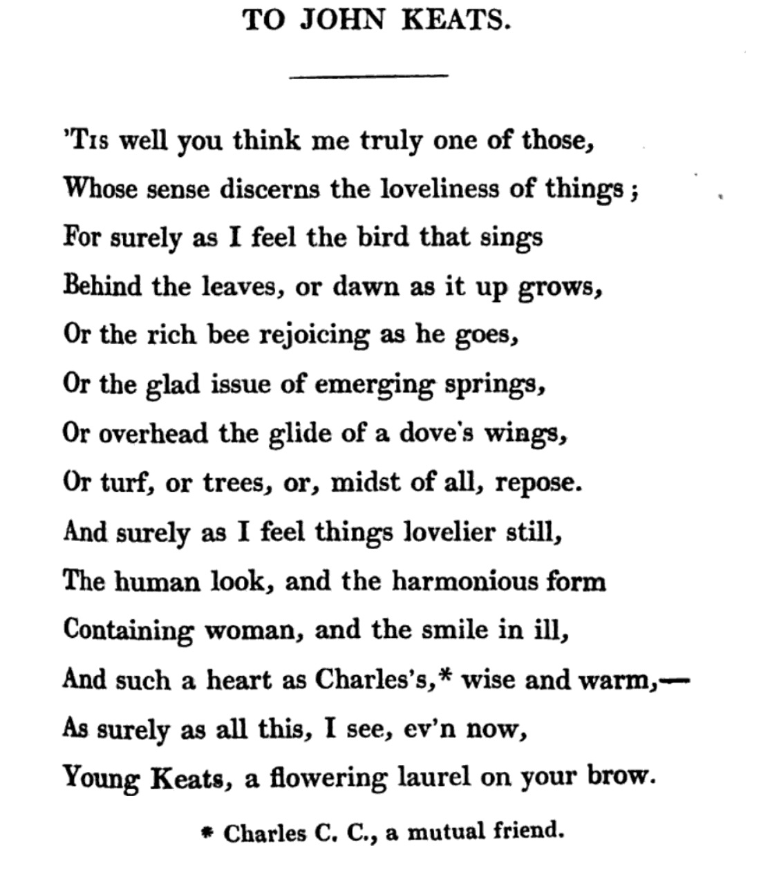 Hunt's poem To John Keats as published in Foliage (1818) Click to         enlarge.