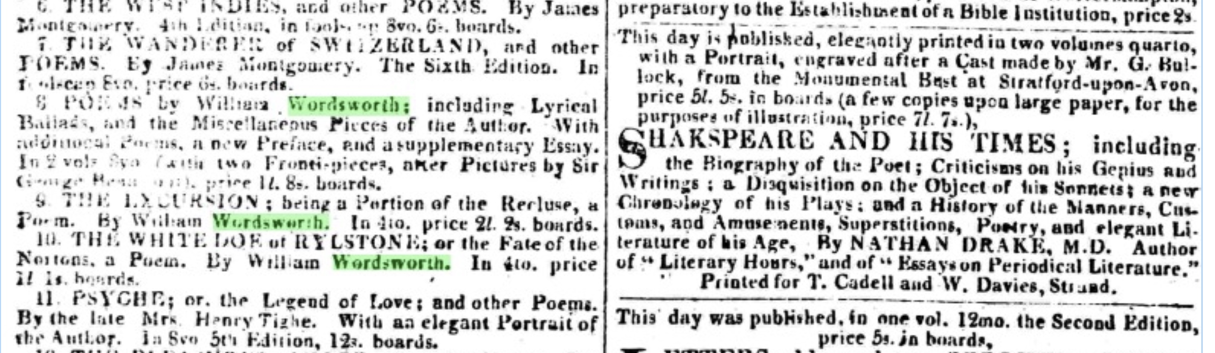 Some of Wordsworth's poetry advertised in The           Morning Post (London), Friday, 26 December 1817, just around when Keats is seeing         Wordsworth. Click to enlarge.