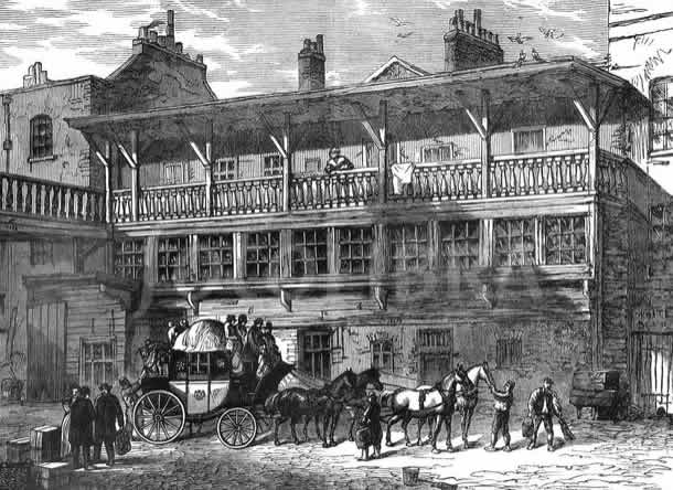 The yard of a London staging inn, c.1820